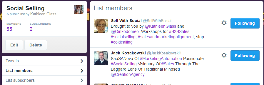 Twitter List Social Selling Updated